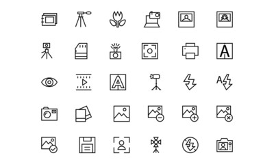 Photography Line Vector Icons 4
