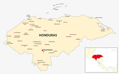 honduras map with central america outline map