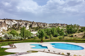 Hotel swimming pool, Goreme, Cappadocia, Turkey