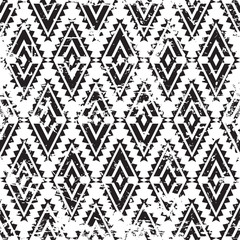 Vector tribal ornament grunge seamless pattern. Abstract black a