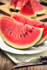 Fresh watermelon slices on the plate