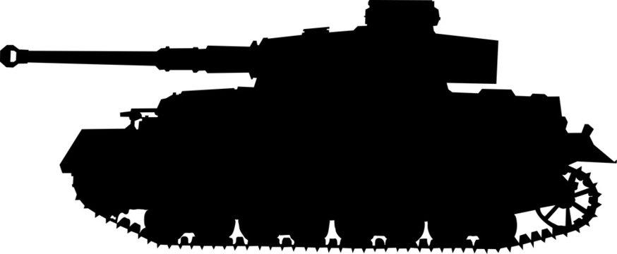 PZ4. German silhouette  tank of World War II