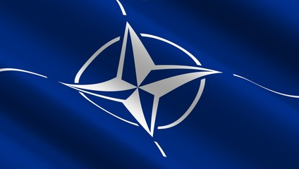 Waving flag of NATO organization.