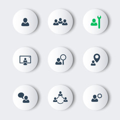 business round modern icons with people, vector, eps10