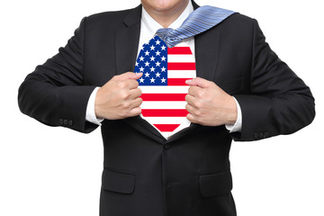 businessman open his suit showing us flag
