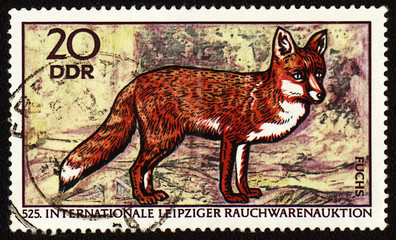 Fox on post stamp