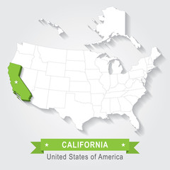 California State. USA administrative map.