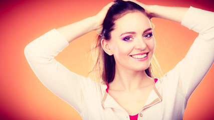 Woman long straight hair makeup portrait