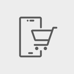 Shopping cart signboard thin line icon