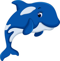 Photo sur Aluminium Dauphins Cute killer whale cartoon
