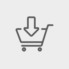 Remove from shopping cart thin line icon
