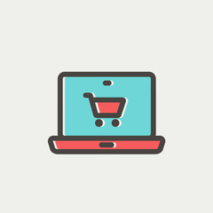 Online shopping thin line icon