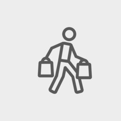 Man carrying shopping bags thin line icon