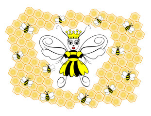 A queen honey bee surrounded by honey combs and worker bees