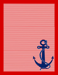 A background of red and white stripes and a blue anchor