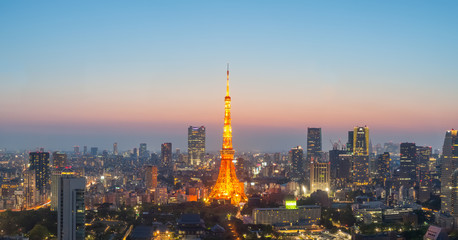 Tokyo Tower and Tokyo city nice view at sunset time