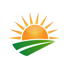 Sun ecology green road vector symbol logo