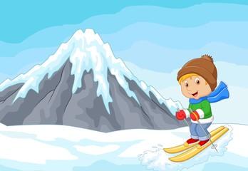 Cartoon alpine skier races extreme hill with iceberg