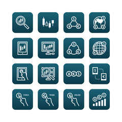 forex vector flat icons set of business finance online trading
