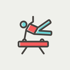 Gymnast on Pommel Horse thin line icon
