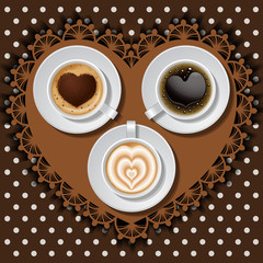 3 cups of heart in coffee
