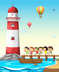 Children and lighthouse