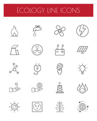 Thin Line Energy,power and environment icon set.Vector.