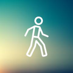 Waliking exercise thin line icon