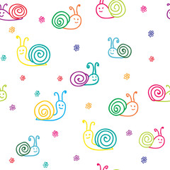 seamless pattern: snails and flowers for the child