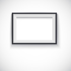 Picture wood frame horizontal, vector for image or text.