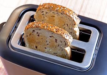 Multi-grain bread in toaster