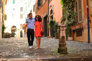 Vacation and travel, young couple in Italy