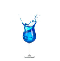 blue cocktail with splashes on white