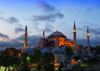 St. Sophia Cathedral on a sunset, Istanbul