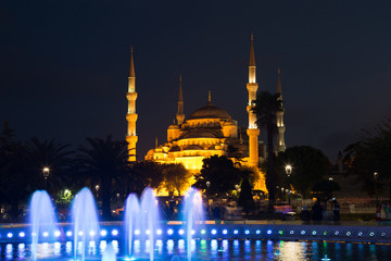 fountain with  illumination on Sultanahmet square in Istanbul
