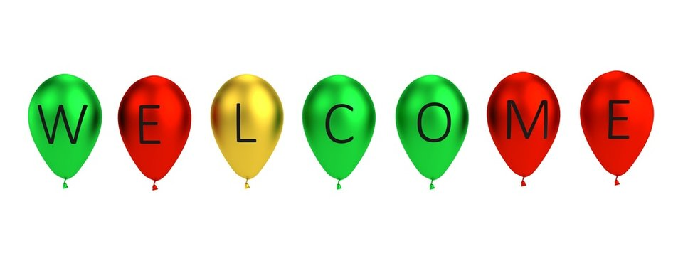 3d render of balloon letters - welcome