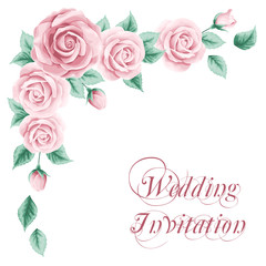 Vintage wedding invitation with roses