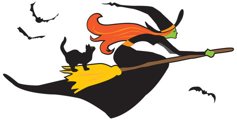 Pretty witch on a broomstick