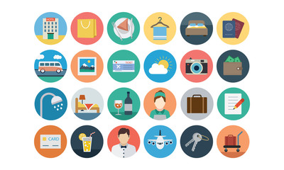 Flat Hotel and Restaurant Vector Icons 1