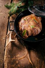 Venison Roast in Pot Seasoned with Fresh Herbs