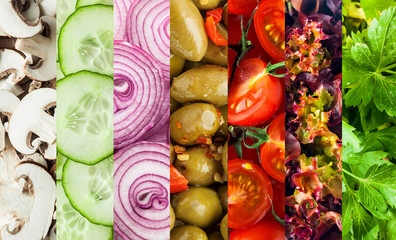 Background collage of diced fresh vegetables
