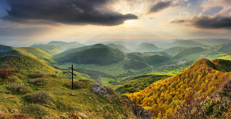 Spring forest mountain landscape, Slovakia