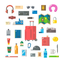 Flat design of travel items set