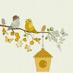 Cute birds and butterflies