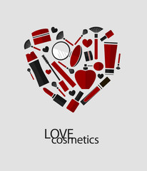Vector heart of flat cosmetics icons and makeup design elements.