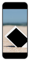 Blank Retro Instant Photos On Beach Sand In Summer On Smartphone