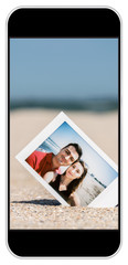 Instant Photo Of Young Couple On Beach On Smartphone