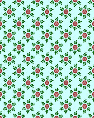 Floral  seamless pattern (cyan background)