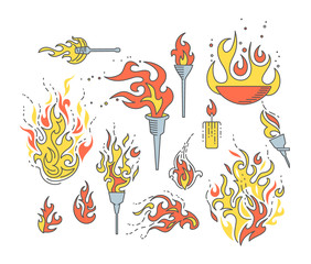 Set of flame objects.