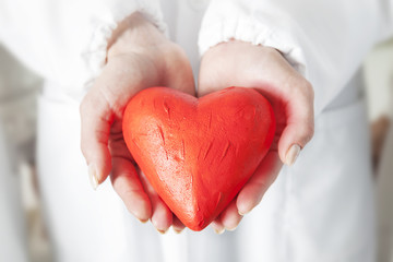 red heart symbol in the hands of a doctor
